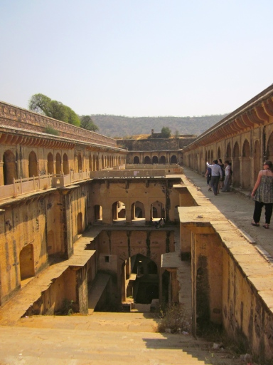 entering the stepwell.